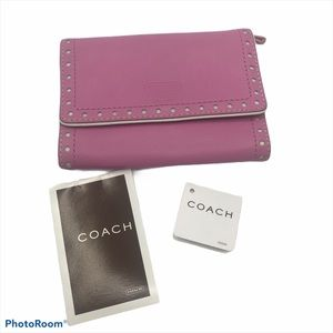 NWT Coach Trifold Pink White Wallet Leather Snap